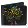 Bi-Fold Wallet - Electric Tinker Bell Sassy Pose Black Multi Neon