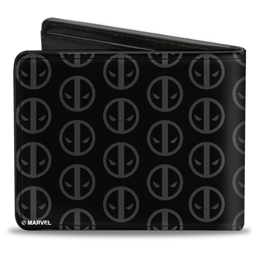 MARVEL DEADPOOL Bi-Fold Wallet - Deadpool Logo Centered Monogram Black Gray Red White