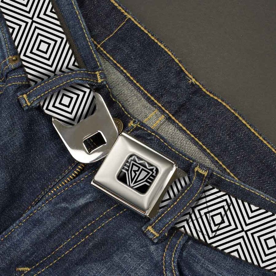 BD Wings Logo CLOSE-UP Full Color Black Silver Seatbelt Belt - Square Lines White/Black Webbing