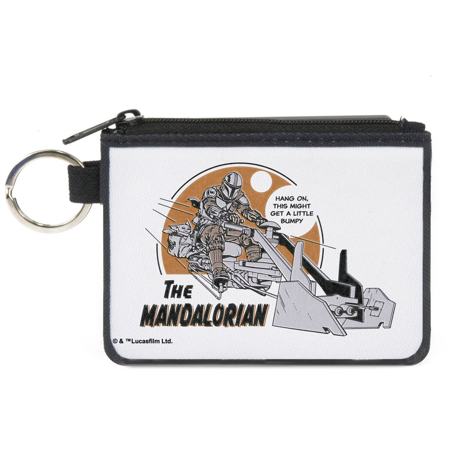 Canvas Zipper Wallet - MINI X-SMALL - Star Wars THE MANDALORIAN Riding Speeder Bike with The Child HANG ON Quote White Grays Browns