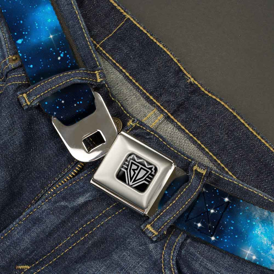 BD Wings Logo CLOSE-UP Full Color Black Silver Seatbelt Belt - Galaxy Blues/Blues Webbing