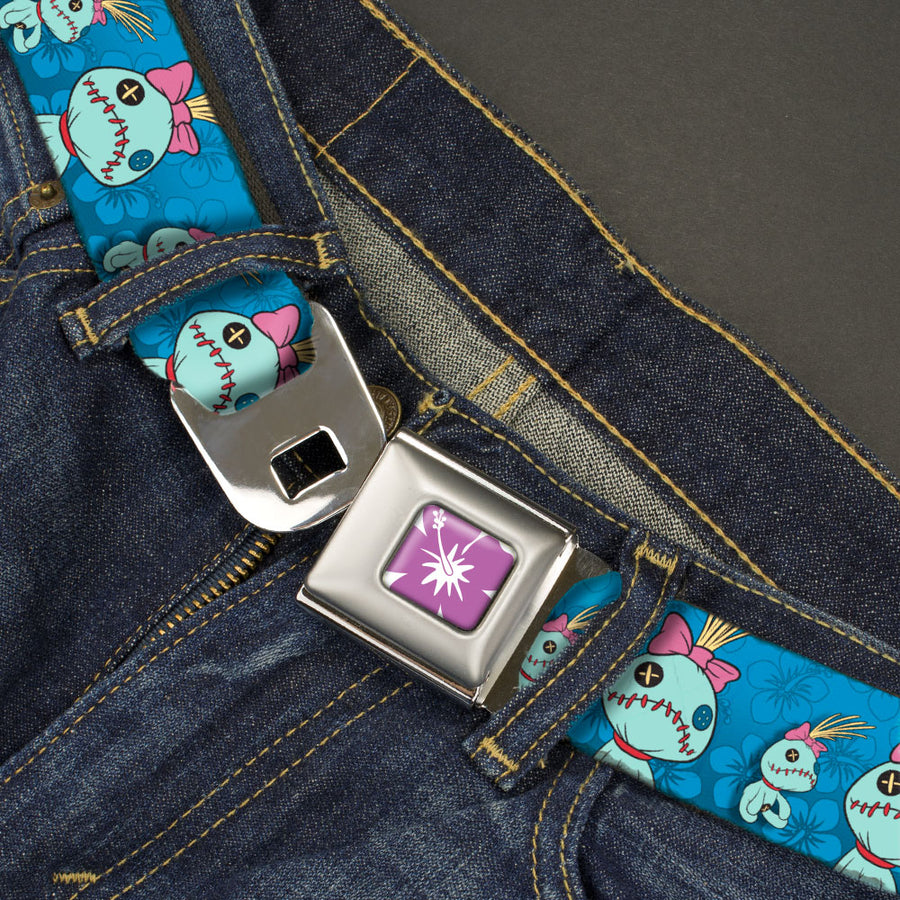 Lilo & Stitch Hibiscus Flower Full Color White/Purple Seatbelt Belt - Lilo & Stitch Scrump 2-Poses/Hibiscus Flowers Blues Webbing