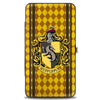 Hinged Wallet - HUFFLEPUFF Crest Stripes Diamonds Gold Browns