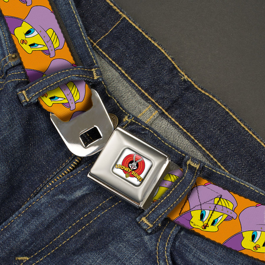 Looney Tunes Logo Full Color White Seatbelt Belt - Tweety Bird Hip Hop Expression Orange Webbing