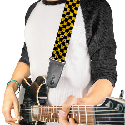 Guitar Strap - Checker Weathered Black Yellow