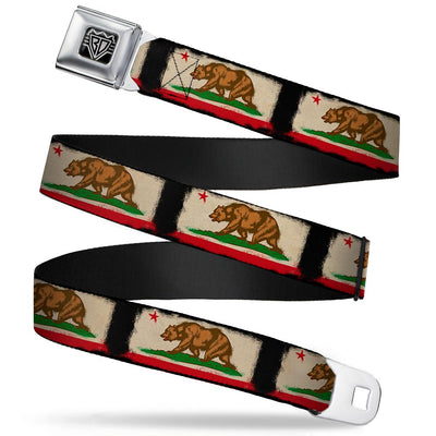 BD Wings Logo CLOSE-UP Full Color Black Silver Seatbelt Belt - California Flag Distressed Painting Blocks Webbing