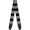 Guitar Strap - BUILT FORD TOUGH Logo2 Black White Blue