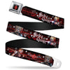 Harley Quinn Diamond Full Color Black Red Seatbelt Belt - BATMAN ARKHAM KNIGHT Logo HARLEY QUINN Bat Poses Diamonds/Bats/Kisses Black/Reds/White Webbing