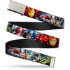 Chrome Buckle Web Belt - Marvel Avengers 4-Superhero Poses CLOSE-UP Webbing