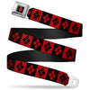 Harley Quinn Diamond Full Color Black Red Seatbelt Belt - Harley Quinn Diamond Blocks Red/Black Black/Red Webbing
