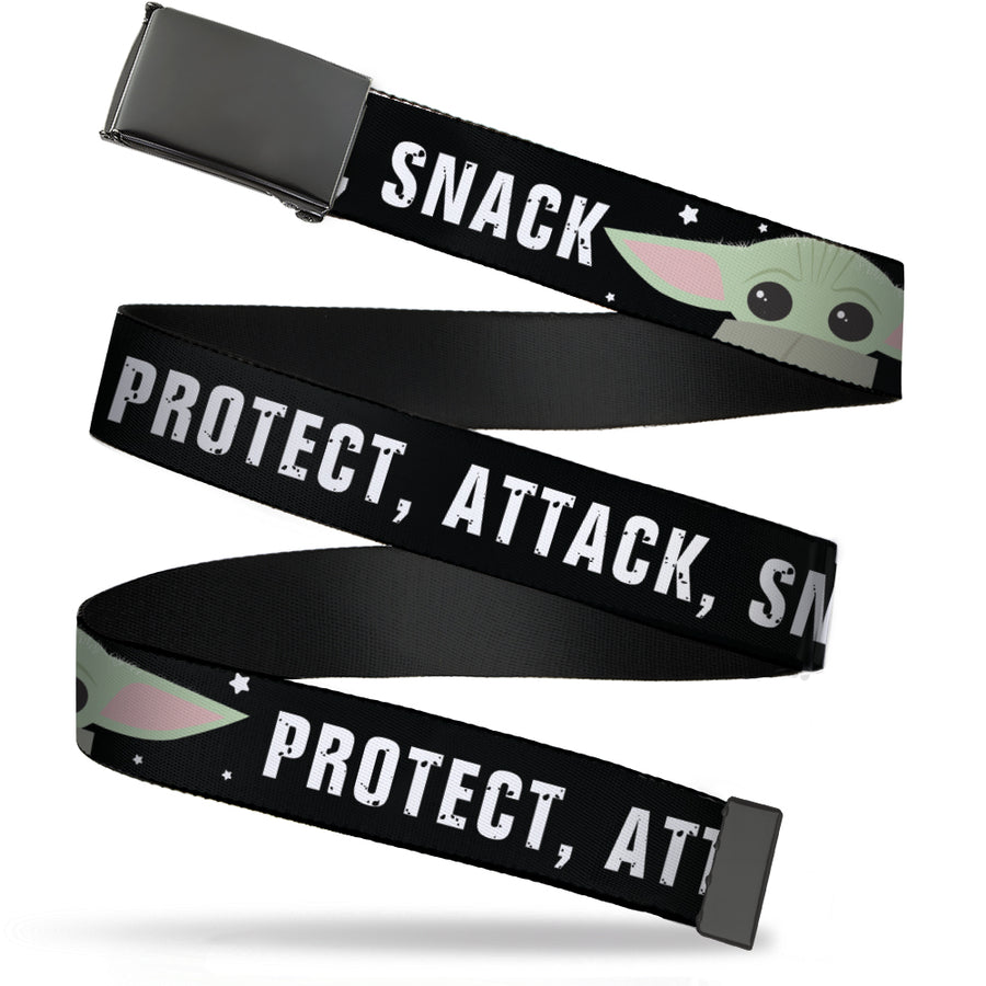 Black Buckle Web Belt - Star Wars The Child Chibi Face PROTECT ATTACK SNACK Black/White Webbing