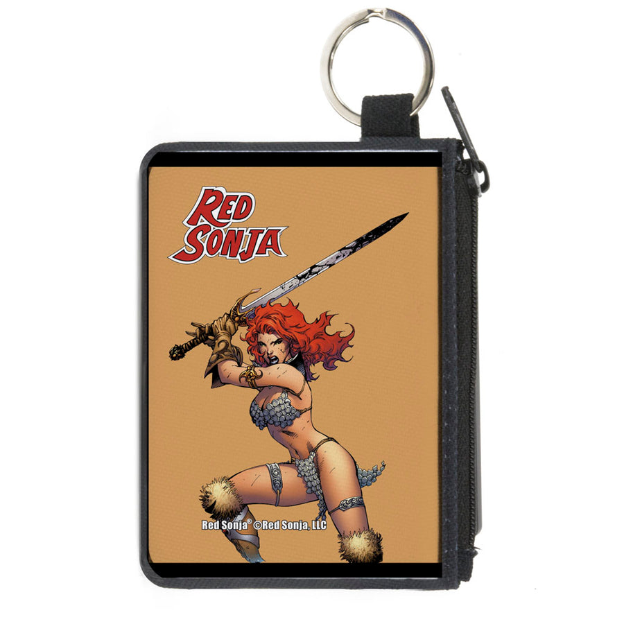 Canvas Zipper Wallet - MINI X-SMALL - RED SONJA Sword Action Pose Tan