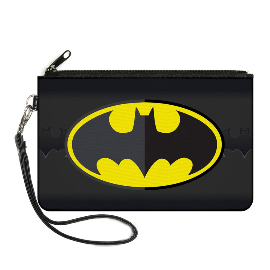 Canvas Zipper Wallet - LARGE - Batman Icon Centered Bat Signal Stripe Black Yellow Grays