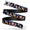 KINGDOM HEARTS Logo Full Color Black/Silver/Blue Fade Seatbelt Belt - Kingdom Hearts Re:Coded 8-Character Group Pose Black Webbing