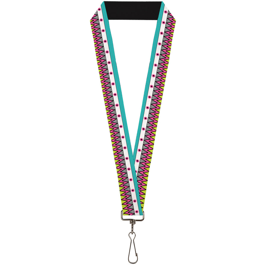 "Lanyard - 1.0"" - Aztec 14 Seafoam Green White Pink Lime Green Black"