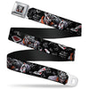 Joker Face Stare Full Color Seatbelt Belt - Joker BRILLIANTLY TWISTED PSYCHO 2-Poses/Cards Black/Grays Webbing
