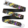 GUARDIANS OF THE GALAXY - EVERGREEN GUARDIANS Badge Full Color Black Gold Purple Seatbelt Belt - ROCKET RACCOON Action Pose/Face CLOSE-UP Blocks Purples/Yellow Webbing