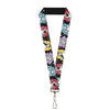 "Lanyard - 1.0"" - Princess Sketch Poses Typography Black Grays Multi Color"