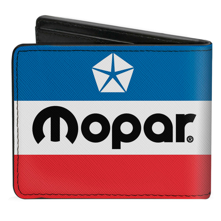 Bi-Fold Wallet - MOPAR Chrysler Logo White Blue Red Black