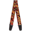 Guitar Strap - THE FLASH Logo Poses Black Red Gold