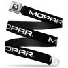 MOPAR Logo Full Color Black White Seatbelt Belt - MOPAR Text Black/White Webbing