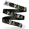 Maleficent Smiling Sketch Full Color Black Grays Seatbelt Belt - Maleficent Smiling/Diablo Sketch/Lightning Black/Grays/Greens Webbing