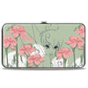 Hinged Wallet - Tinker Bell Sketch Carnations Dandelions Sage Greens Pinks White