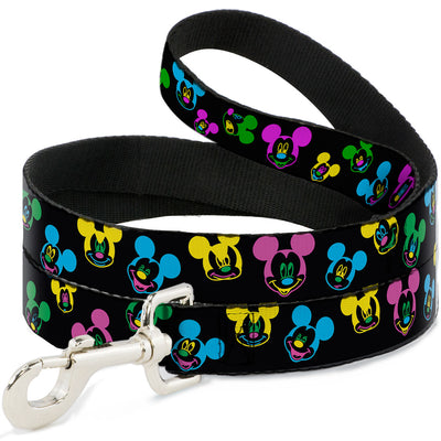 Dog Leash - Mickey Mouse Expressions Scattered Black/Multi Neon