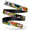 DC Round Logo Black/Silver Seatbelt Belt - Superheroines Wonder Woman/Supergirl/Batgirl Webbing