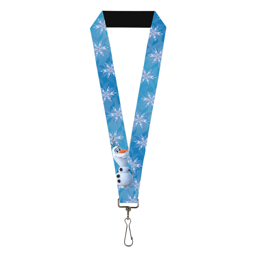 "Lanyard - 1.0"" - Frozen II Olaf Backwards Pose Snowflakes Blues Lavender White"