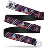 SHELBY Cobra Full Color Black Gray Red Blue Seatbelt Belt - SHELBY Cobra/Plaid X Navy/Gray/Red Webbing