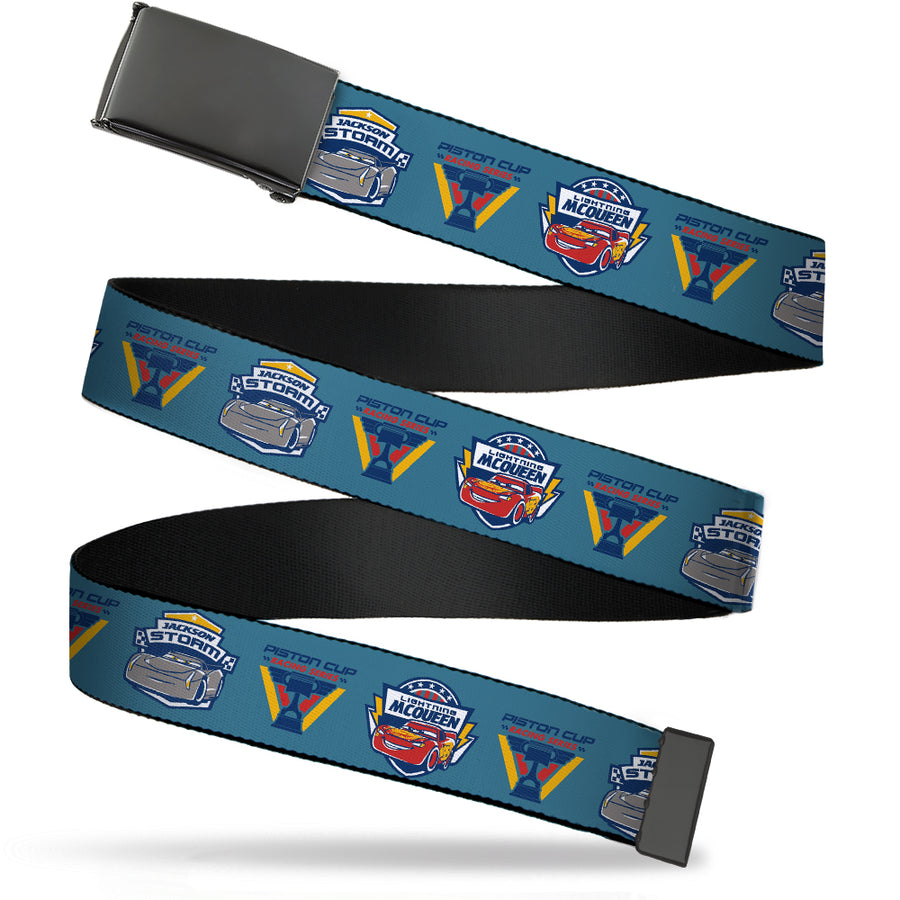 Black Buckle Web Belt - Cars 3 PISTON CUP RACING SERIES Icon/LIGHTNING MCQUEEN Pose3/JACKSON STORM Pose2 Blue Webbing