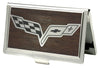 Business Card Holder - SMALL - C6 Marquetry Black Walnut Metal