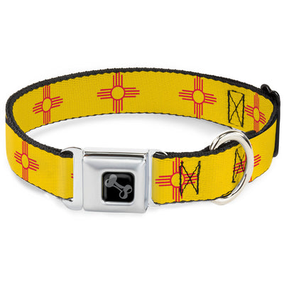 Dog Bone Black/Silver Seatbelt Buckle Collar - New Mexico Flag Yellow/Red