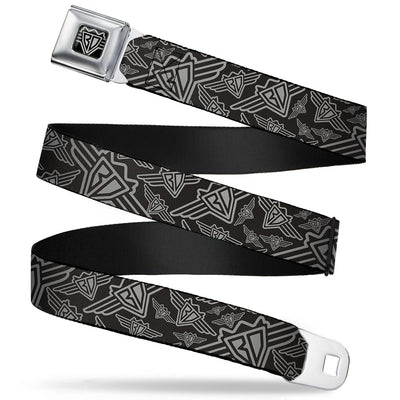 BD Wings Logo CLOSE-UP Full Color Black Silver Seatbelt Belt - BD Logo Scattered Black/Gray Webbing
