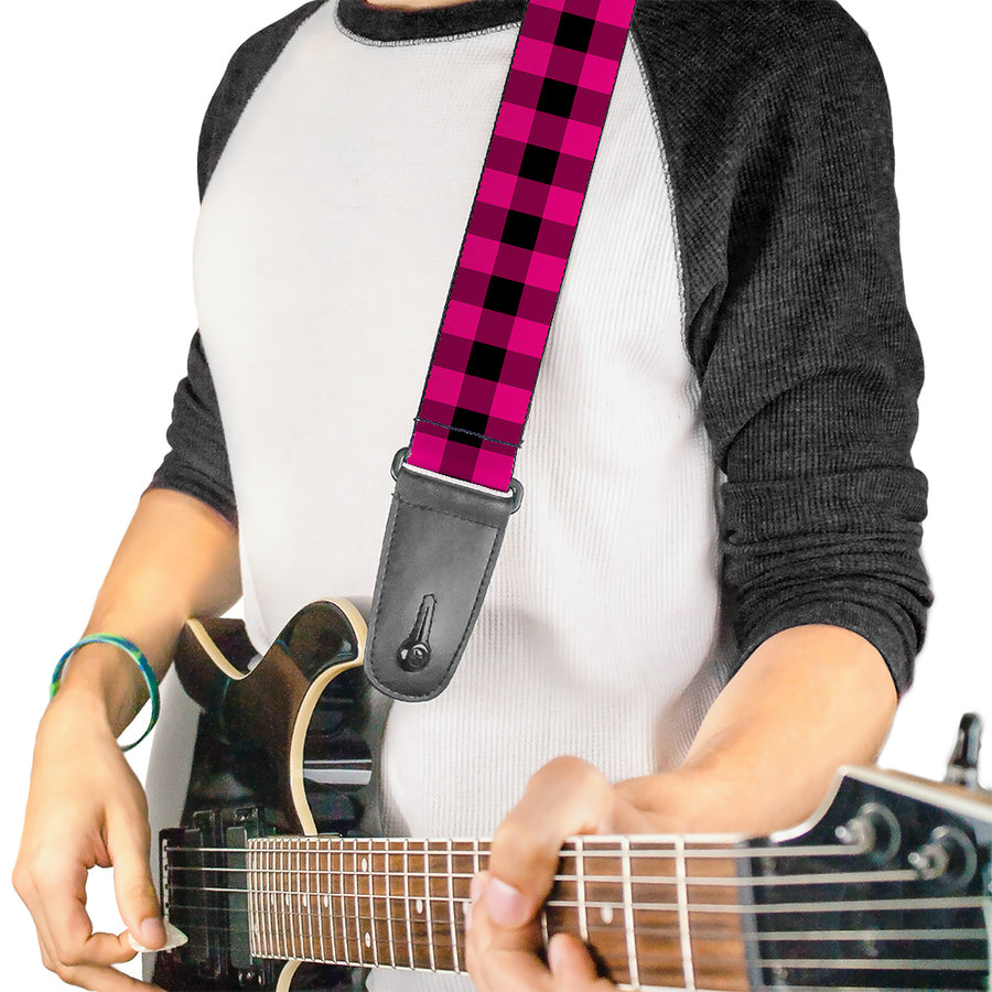 Guitar Strap - Buffalo Plaid Black Fuchsia