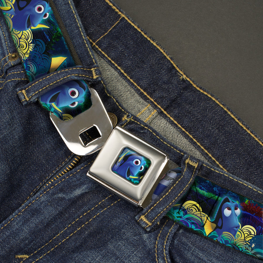 Dory Pose2 Swirls Full Color Blues Yellows Seatbelt Belt - Dory Poses/Swirls Blues/Yellows Webbing
