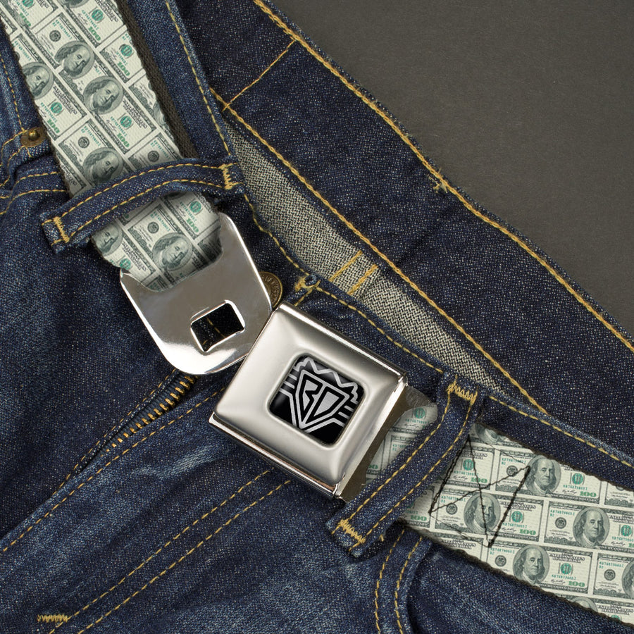 BD Wings Logo CLOSE-UP Full Color Black Silver Seatbelt Belt - 100 Dollar Bill Old Series 2006 Repeat Webbing