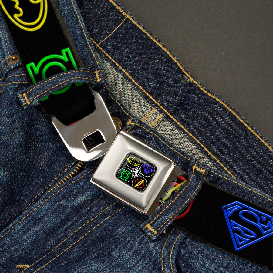 JL-Batman Superman Green Lantern Flash Electric Logos Full Color Black White Multi Neon Seatbelt Belt - Justice League Electric Logos Black/Multi Neon Webbing