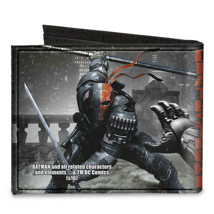 Canvas Bi-Fold Wallet - DEATHSTROKE Arkham Origins Action Pose Snow Grays Red