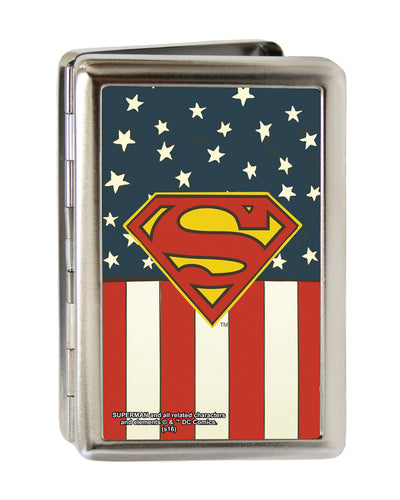 Business Card Holder - LARGE - Superman Shield Americana FCG Red White Blue Yellow