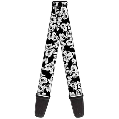 Guitar Strap - Mickey Mouse Expressions Stacked White Black