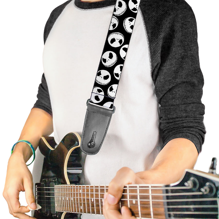 Guitar Strap - Nightmare Before Christmas Jack Expressions Scattered Black White