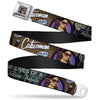 CATWOMAN Bombshell Face Full Color Purple Seatbelt Belt - CATWOMAN-NINE LIVES OF A FELINE FATALE Bombshell Pose/Diamonds Webbing