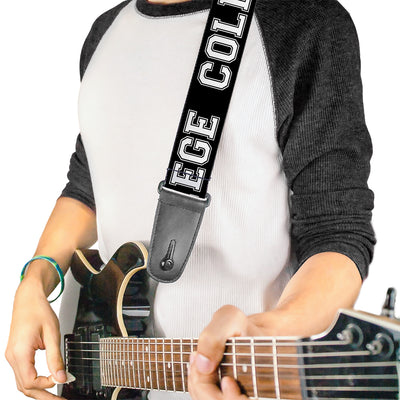 Guitar Strap - COLLEGE Black White