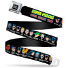 DC Round Logo Black/Silver Seatbelt Belt - DC Originals SUPER HEROES HAVE ISSUES TOO! Faces/Issues Black Webbing