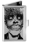 Business Card Holder - SMALL - Joker Bat Face My Dark Architect Cover Brushed Silver