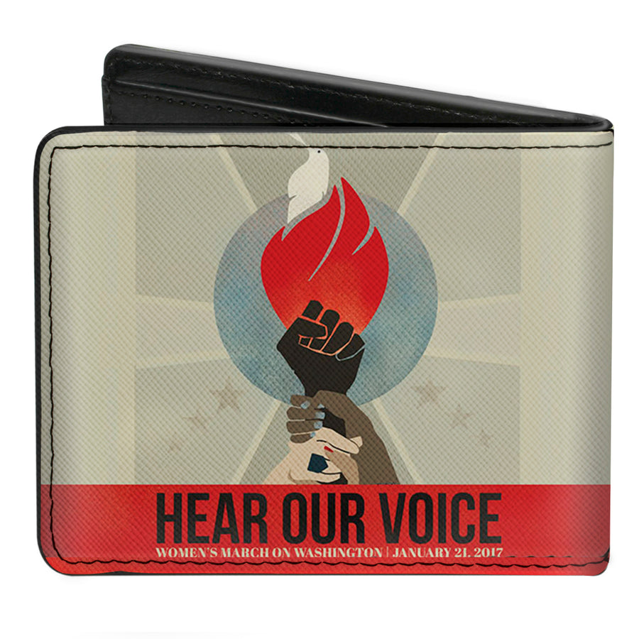 Bi-Fold Wallet - HEAR OUR VOICE-WOMEN'S MARCH 2017 Unity Fist Torch Grays Blues Red Black White