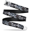 Batman Black Silver Seatbelt Belt - Joker Laughing CLOSE-UP Black/White Webbing