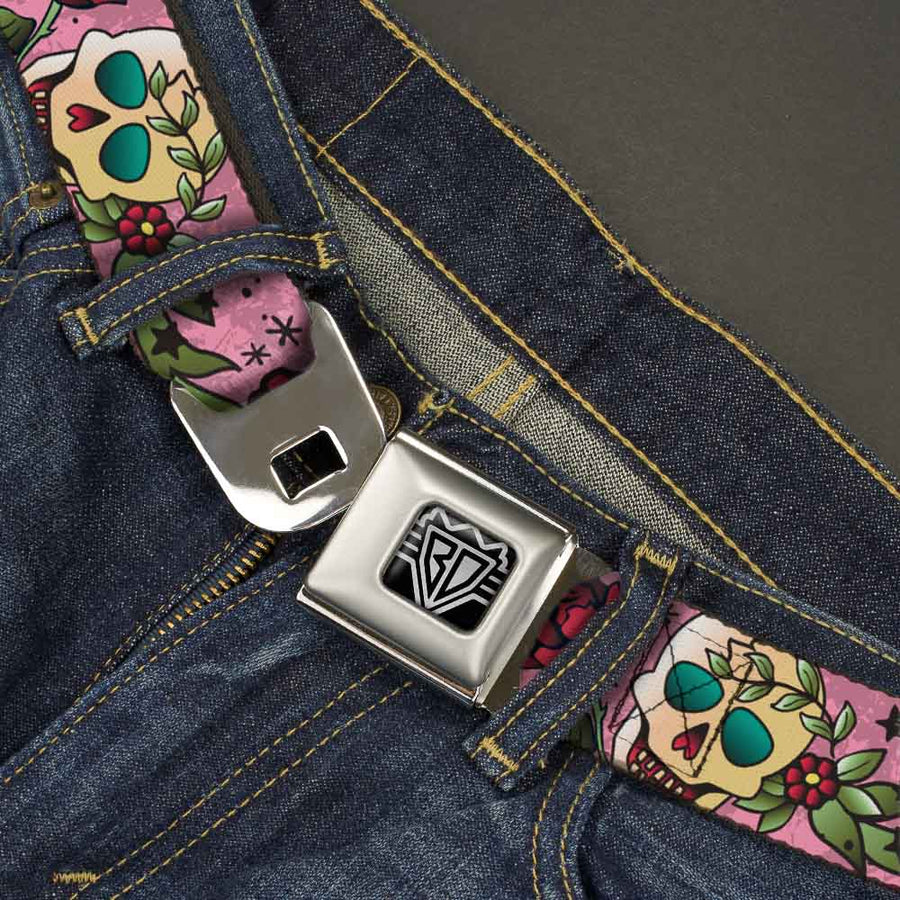 BD Wings Logo CLOSE-UP Full Color Black Silver Seatbelt Belt - Death Before Dishonor Pink Webbing